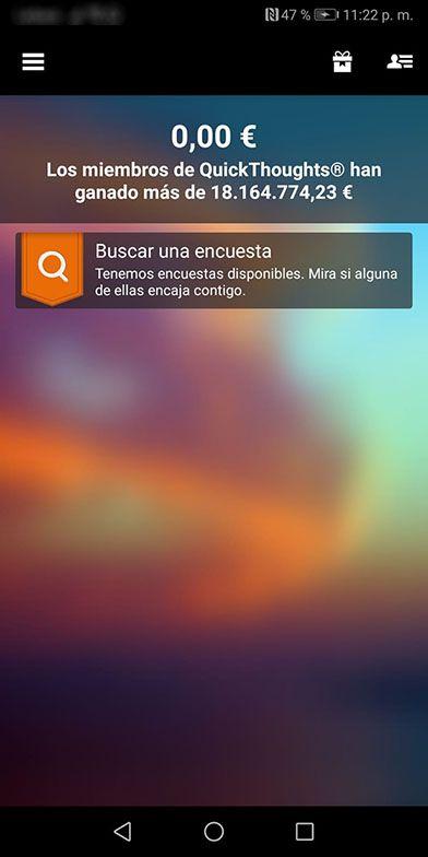 Encuestas disponibles y balance disponible en la app QuickThoughts