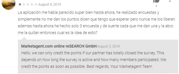 Comentarios negativos hacia Marketagent